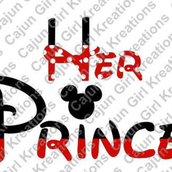 Her Prince In Mickey Mouse Letters Disney Vacation Printable Digital Iron On Transfer Clip Art DIY Tshirts Instant Download