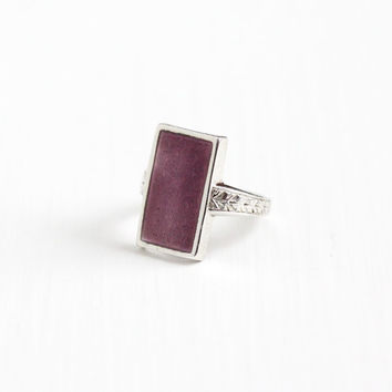 Vintage Art Deco Sterling Silver Ostby & Barton Ring - 1920s Size 4 Purple Guilloche Enamel Wheat Rectangular Shield Signed OB Jewelry