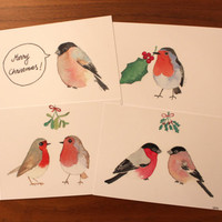 A set of four Christmas cards. Quality prints of unique watercolor paintings. Bird Xmas cards. Set of Finnish Christmas cards.