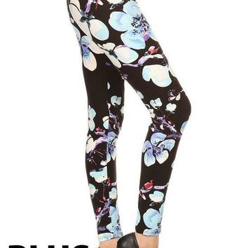 Zizyme Women's Peach Skin Multi-Color Print Plus Size Legging
