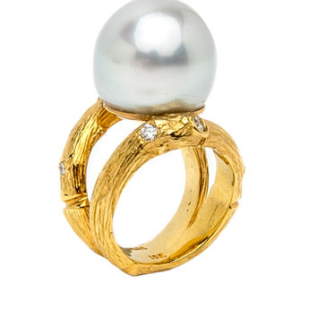 South Sea Pearl Double Twig Ring