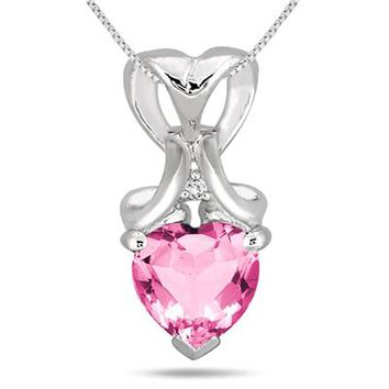 1.80 Carat Heart Shape Created Pink Sapphire and Diamond Pendant in .9