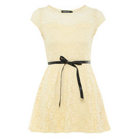 Cream sweetheart crochet skater dress at debenhams.com