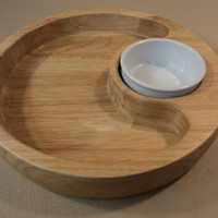 Standard Round Chip Bowl Platter 12in Diameter x 2in H With Dip Cup Wood Ceramic -- Used