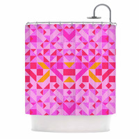 "Vasare Nar ""Candy Geometric"" Pink Geometric Shower Curtain"