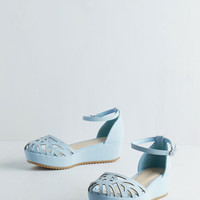 ModCloth Pastel Flatform of Flattery Wedge in Blue