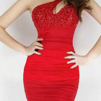 Red Sequined Cut Out Mini Dress