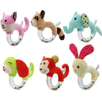 New Design Baby Rattle Toys Animal Hand Bells Plush Baby Toy High Quality Newborn Gift Animal Style Baby Toys