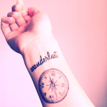 "2pcs Vintage Compass and ""wanderlust"" travel collection tattoo - InknArt Temporary Tattoo - wrist quote tattoo body sticker fake tattoosmall"