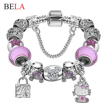 Cute Children Cat Hello Kitty Charms Bracelet for Kids Girls Murano Glass Beads Bracelet For Women Ladies DIY Fashion Jewelry