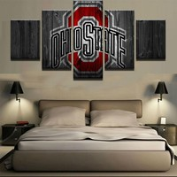 Ohio State College on Canvas Barn Wood Style