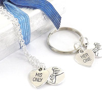 Ships from USA, 2 Her One His Only Pinky Promise Necklaces for Couples,  Keychains or Combinations