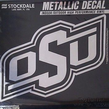 "Oklahoma State Cowboys OSU 12"" Large Silver Metallic Vinyl Auto Decal University"