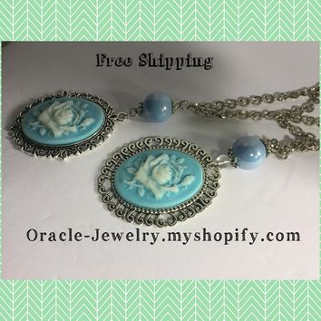 Blue Rose Cameo Necklace /Free Shipping