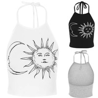 Hippy style moon and sun crop halter neck top black / white hippy crop