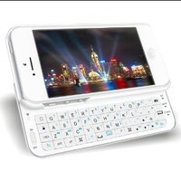 Shenit Bluetooth Qwerty Keyboard Buddy Case for Apple iPhone 5 Rubberized Hard Shell with Backlight Apple iOS command keys-White