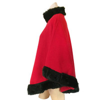 Vintage Poncho Coat Winter Poncho Women Red Poncho Faux Fur Poncho Coat Fleece Poncho Women Outerwear Christmas Clothes Winter Clothing