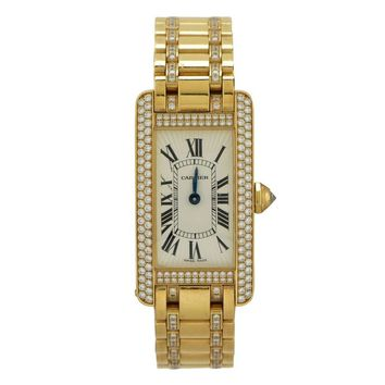 Cartier Lady's Yellow Gold Diamond Tank Americaine Quartz Wristwatch
