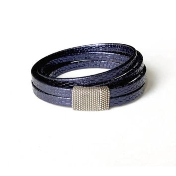 Leather Wrap, Leather Wrap Bracelet. Blue Leather Wrap Bracelet, Leather bracelet, Blue Leather Bracelet, Wrap Bracelet, Blue Leather