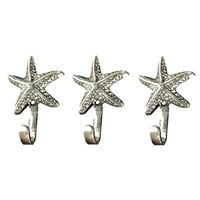 Starfish Wall Hangers Cast Iron Weathered Silver/Pewter finish - Set of 3 for Coats, Aprons, Hats, Towels, Pot Holders, More