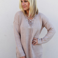 Hot Cocoa Lace-Up Sweater