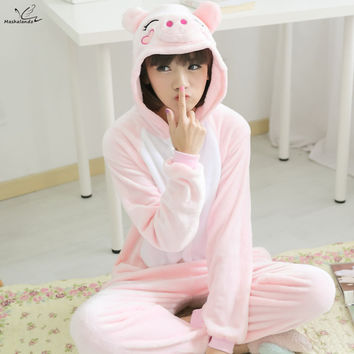 Cute Pink Pig Cartoon Onesuits Cosplay Costume Sleepwear Adult Unisex Pajamas Animal Pyjama Sets