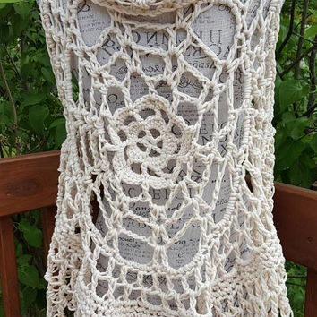 Mandala Vest. Crochet Lotus Mandala Circular Vest. Size fits average small/medium. Made By Bead G's On ETSY. Long creamy Bohemian Vest