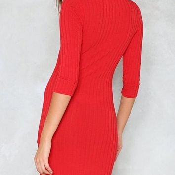 Anya Ribbed Mock Turtleneck Fitted Mini Dress