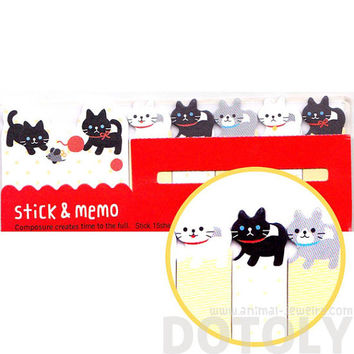 Black and White Kitty Cat Shaped Memo Pad Post-it Index Sticky Tab Bookmarks | Cute Animal Themed Affordable Stationery