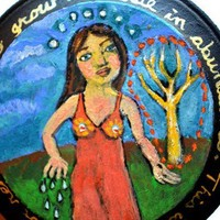 Woman with Tree Acrylic Painting - Small Folk Art Painting - Miniature