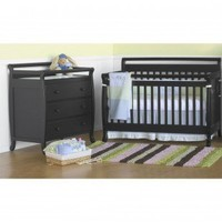 DaVinci Emily 4-in-1 Convertible Crib Nursery Set with Toddler Rail in Ebony Black - M4791E Nursery Set