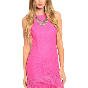 Sleeveless Lace Sheath Dress W/ Fringe Trim