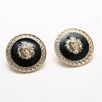 Oil Drop Lion Head Punk Alloy Ear Stud Earrings
