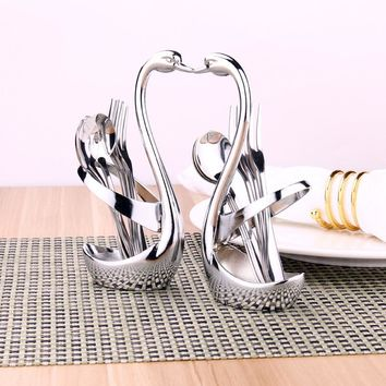 Swan Dinnerware Spoon Fork Holder Flatware Sets Kitchen  Decorate Fruit Wedding Party Decoration Tableware Set Kitchen Hotel Bar