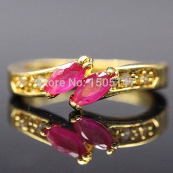 Fashion Rings For Women Plating Gold Mosaic AAA Red Cubic Zirconia Crystal Engagement Party Accessories