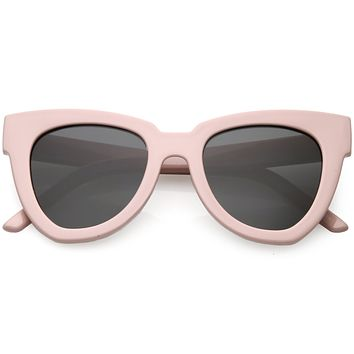 Retro Modern Oversize Women's Bold Flat Lens Cat Eye Sunglasses C621