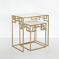 Mandarin Nesting Tables, Gold - Accent Tables - Furniture