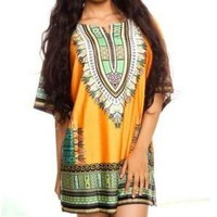 African Dashiki Print Dress Mustard