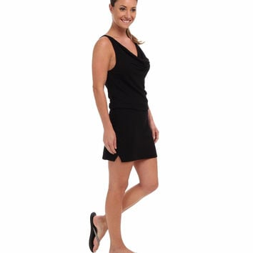 Beyond Yoga Womens Black Mini Drape Neck French Terry Drop Waist Tank Dress Size S