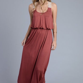 Solid maxi dress with crochet detail back-coral