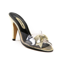 Vintage Gold & Clear Slide Heels with Bow