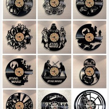 Star Wars 3D Wall Clock Vinyl Record Clock Creative Pendant Clock Home Decoration