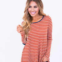 Burnt Orange Striped Elbow Patch Top
