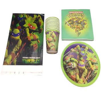 61pcs/lot Happy Birthday Tablecloth Ninja Turtles Theme Party Plates Decorate Cups Kids Favors Tableware Set Baby Shower Napkins