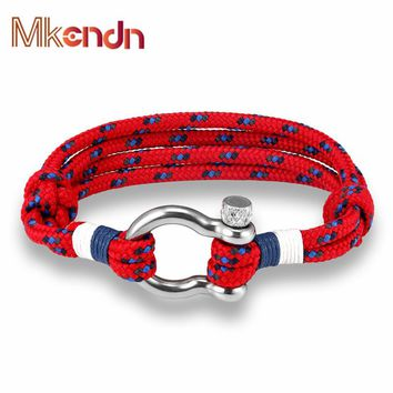 New Arrival Fashion Jewelry navy style Sport Camping Parachute cord Survival Bracelet Men Women Stainless Steel Shackle Buckle