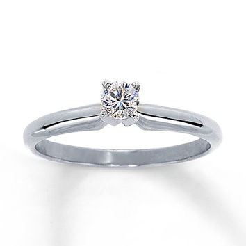 Diamond Solitaire Ring 1/5 carat Round-Cut 14K White Gold