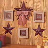 Country Star Wall Decor Sentiment Ribbon Vines Berries Rustic