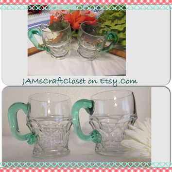 Vintage Clear Glass Green Handle Decorative Coffee Tea Mugs-Handmade Handle-Kitchen Decor-Set of Two-Gift Idea-Fill With Flowers Centerpiece