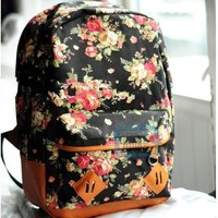 New Women girl lady Fashion Vintage Cute Flower School Book Campus Bag Backpack