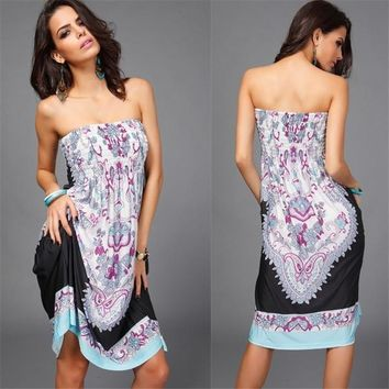 Womens NEW Vintage Strapless Paisley Print Knee Length Boho Hippie Sun Dress Tops Blouses_TQ = 5710257665